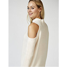 Memo Fashions Knitted High Neck Cold Shoulder Jumper
