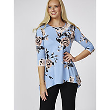 Mr Max Floral Print Brazil Knit Top with 3/4 Length Sleeve