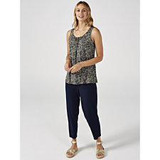 Kim & Co Sweet Ditsy Brazil Knit Sleeveless Ruched Neckline Top