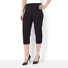 Kim & Co Pique Detail Wide Waistband Crop Trouser