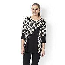 Yong Kim Jersey Multi Print Tunic with Contrast Black Panel