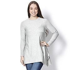 Diane Gilman Round Neck Handkerchief Hem Sweater