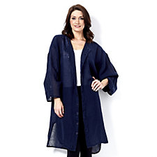 Join Clothes Linen Button Through Front Longline Cardigan