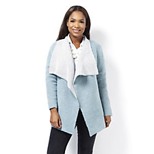 MarlaWynne Double Knit Contrast Collar Cardigan