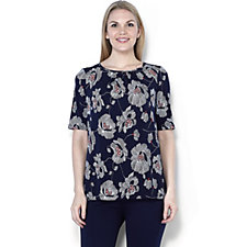 Kim & Co Brazil Knit Printed Half Sleeve Relaxed Top