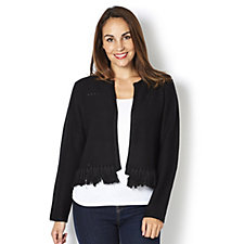 Marble Edge To Edge Fitted Cardigan with Pointelle and Fringe Detail