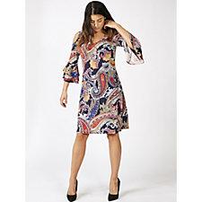 Coco Bianco 3/4 Sleeve Cold Shoulder Printed Dress