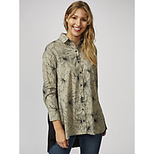 Yong Kim Stretch Printed Shirt with Pleated Back