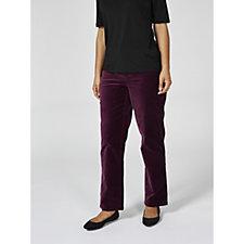 Isaac Mizrahi Live Woven Velvet Straight Leg Petite Trousers