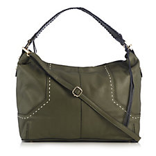 Amanda Lamb Leather Whipstitch Hobo Bag with Detachable Cross-Body Strap