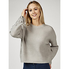Memo Fashions Knitted Jumper with Tie Detail Sleeves