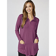 Antthony Designs Longline Collared Tunic with Hi Lo Hem & Patch Pockets