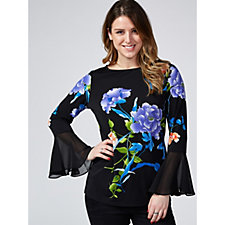 Printed Liquid Knit Top by Susan Graver