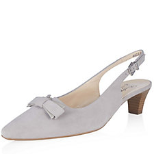Peter Kaiser Sona Suede Court Shoe with Stacked Heel & Bow Trim