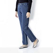 Quacker Factory DreamJeannes Straight Leg Knit Denim Pant