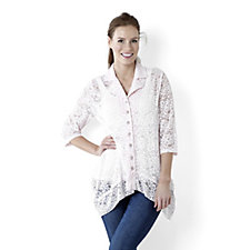 Rosy Lace Shirt with Flounced Shark Bite Hem by Michele Hope