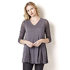 Yong Kim Crinkle V Neck Tunic with Mesh Sleeves & Godet Panels