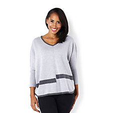 Marble Batwing V Neck Jumper with Colour Block Trim