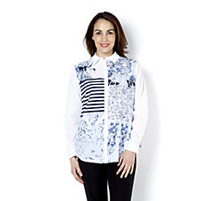 Fashion by Together Front Patchwork Print Shirt