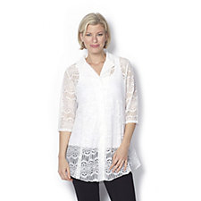 Beach Lace Shirt 3/4 Sleeves by Michele Hope