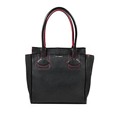 Lulu Guinness Medium Lyra Grainy Leather Tote Bag with Lip Applique