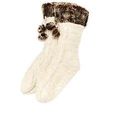 Muk Luks Faux Fur Cuffed Socks with Pom Pom