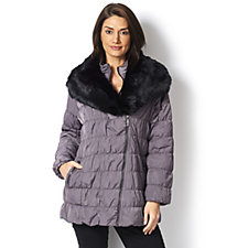 Dennis Basso Ruch Quilted Removable Faux Fur Collar Jacket