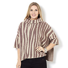 MarlaWynne Double Knit Cowl Neck Jacquard Poncho