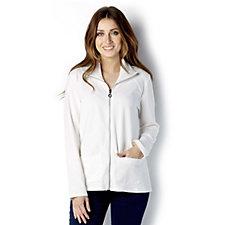 Weekend French Terry Zip Front Jacket with Lace Trim by Susan Graver
