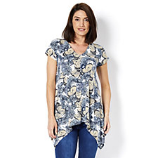 Attitudes By Renee V Neck Printed Tunic with Cap Sleeves