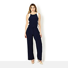 Palazzo Trouser Sleeveless Jumpsuit w/ Drawstring Waist by Nina Leonard