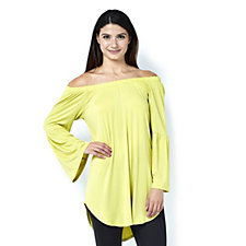 Antthony Designs Off The Shoulder Top with 3/4 Sleeves & Curved Hem