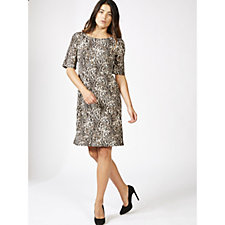 Coco Bianco Printed Scoop Neck Shift Dress
