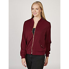 Stretch Peachskin Bomber Jacket by Susan Graver