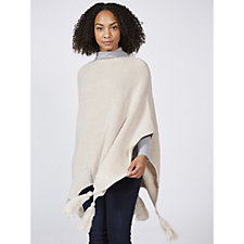 Vince Camuto Pointed Tassel Knit Poncho