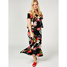 Printed Liquid Knit Maxi Dress by Susan Graver