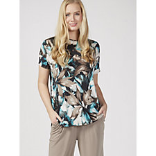 171415 - Kim & Co Marble Leaf Venechia Angel Sleeve Top with Back Pleat