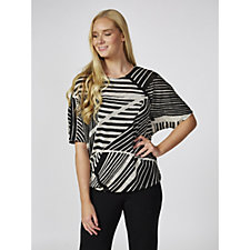 Mr Max Abstract Metallic Knit Dolman Sleeve Top