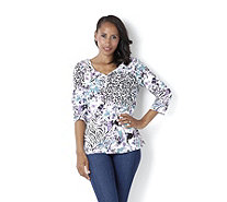 Artscapes Jungle Flowers Y Button Front Neck Top - 143516