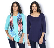 Antthony Designs Pack of 2 Asymmetric Tops & Scarf Set