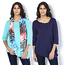 158616 - Antthony Designs Pack of 2 Asymmetric Tops & Scarf Set