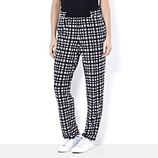 Printed Trousers with Slim Leg & Solid Elastic Front by Nina Leonard