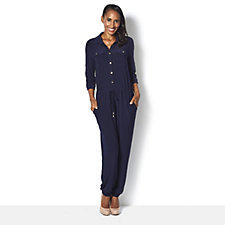 159816 - Button Front 3/4 Sleeve Jumpsuit by Nina Leonard