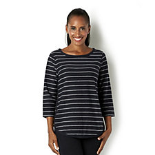 C. Wonder Stripe French Terry Top with Side Button Detail