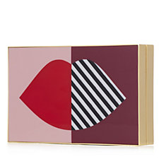 Lulu Guinness Olivia Perspex 50:50 Stripe Lip Clutch