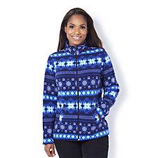 Denim & Co. Nordic Print Zip Front Fleece Jacket