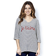 Kim & Co French Terry Stripe Je T'aime Relaxed Top