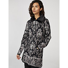 Isaac Mizrahi Live Damask Cardigan with Faux Fur Detachable Collar