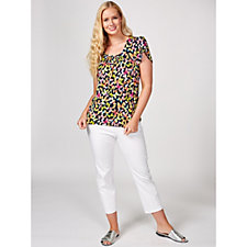 Kim & Co Butterflies Print Brazil Knit Tulip Sleeve Top with Ruching