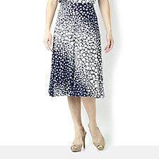 Kim & Co Diagonal Dots Wide Waistband Flared Skirt